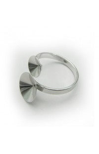 Перстень с двумя основами для rivoli 8+12mm Rh