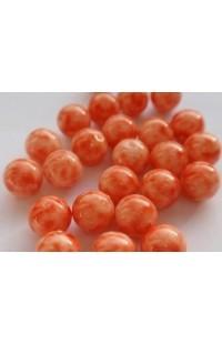 Бусины оранжево-белые