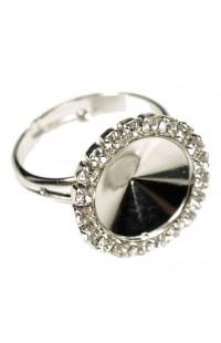 Перстень стразовый с кристаллами SWAROVSKI на RIVOLI 12mm