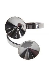 Перстень с двумя основами для rivoli 2x12mm Rh